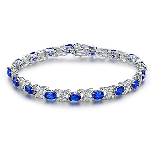 Barzel White Gold Plated Created-Blue-Sapphire Tennis Bracelet