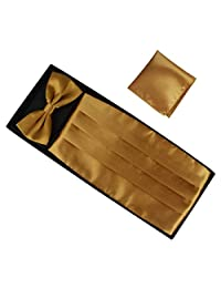 Panegy Men's Wedding Silk Self-Tie Bow Tie & Cummerbund Set Golden