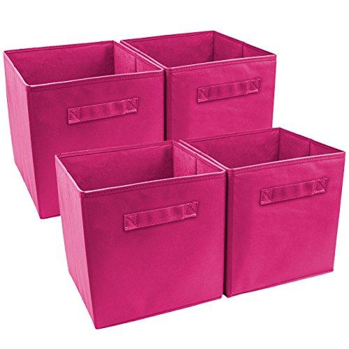 Sorbus Foldable Storage Cube Basket Bin (4 Pack, Pink)