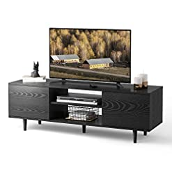 Living Room WLIVE TV Stand for 55/60 inch TV, Entertainment Center with Storage Cabinet and Open Shelves, Media Console for Living… modern tv stands