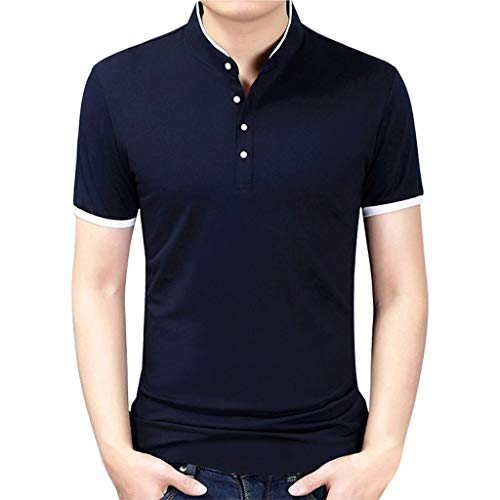 Cotton Stretch Golf Polo - WANQUIY Men's Fit Quick-Dry Golf Polo Shirt Classic Stretch Cotton Solid Shirts Fashion Standing Blouse Top Navy