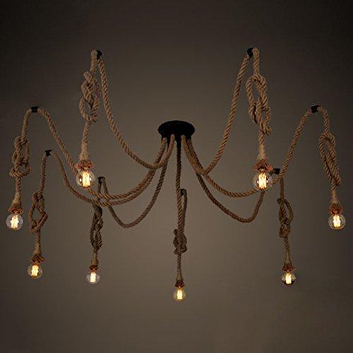 Eight Light Bowl Chandelier (Hemp Rope Pendant Light-LITFAD 8 Heads Retro Vintage Nautical Industrial Ceiling Chandelier Flaxen Twisted Pendant Chandelier)