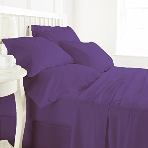 Original Egyptian Cotton 800 TC 4 Piece Sheet Set 15 inch drop Purple Queen By BED ALTER Solid {1 Fitted Sheet (60 x 80 inches) 1 Flat Sheet (90 x - 2000 5228