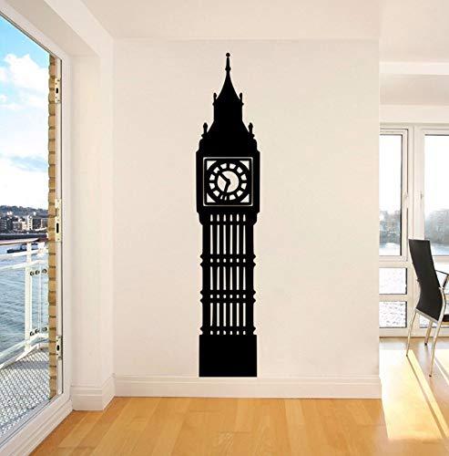 Dalxsh London Big Ben Clock Vinyl Wall Sticker Mural for Living Room Art Decal England Logo Bedroom Kids Room Decoration 10x48cm ()