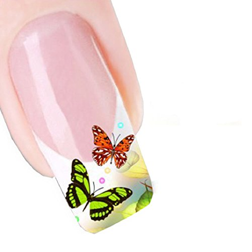 Shensee Gril Sweet Modern Design Nail Tip Art Transfers Decal Sticker (Colorful Butterfly)