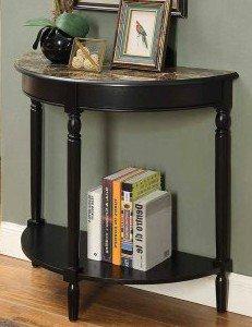 Oak Veneer Top Table (Entryway Table, Hall, Accent - Half Moon, Faux Marble Top, Color Black)