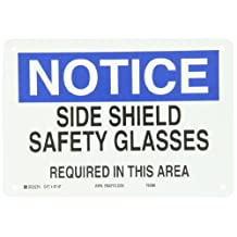 "Brady 43147 Aluminum Eye Protection Sign, 7"" X 10"", Legend ""Side Shield Safety Glasses Required In This Area"""