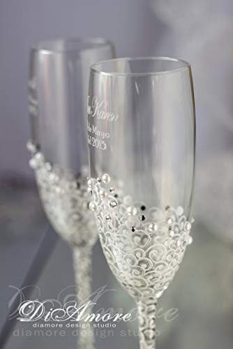 - White and Silver Personalized Wedding Set Champagne Flutes, Wedding Toasting Flutes Set, Flute Engraved Champagne Glasses, Server Gift Set