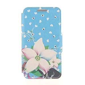 WQQ kinston patrón pasta de diamante de fondo azul flores de punto del corazón de la PU cuero caso de cuerpo completo con soporte para el iphone 5 / 5s