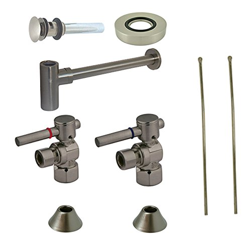 (Kingston Brass CC43108DLVOKB30 Contemporary Plumbing Sink Trim Kit with Bottle Trap for Vessel Sink with Overflow Hole, Satin Nickel)