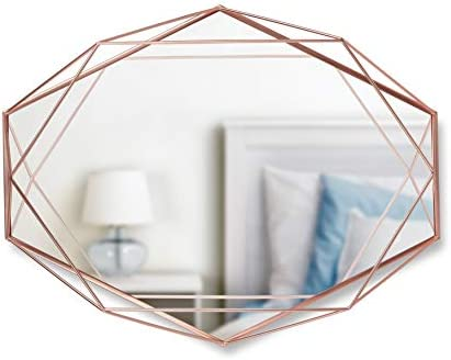 Umbra Prisma Modern Geometric Shaped Oval Mirror Wall Decor for Bedroom, Bathroom, Living, Dining Room, 22.5 Length x 17 Height x 3.75 Width, Copper