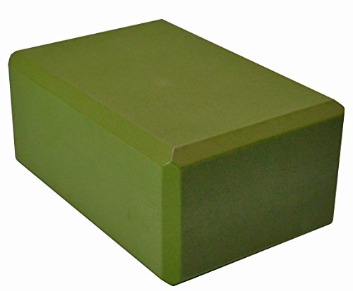 YogaAccessories 4'' Foam Yoga Block - Olive Green 4' Olive