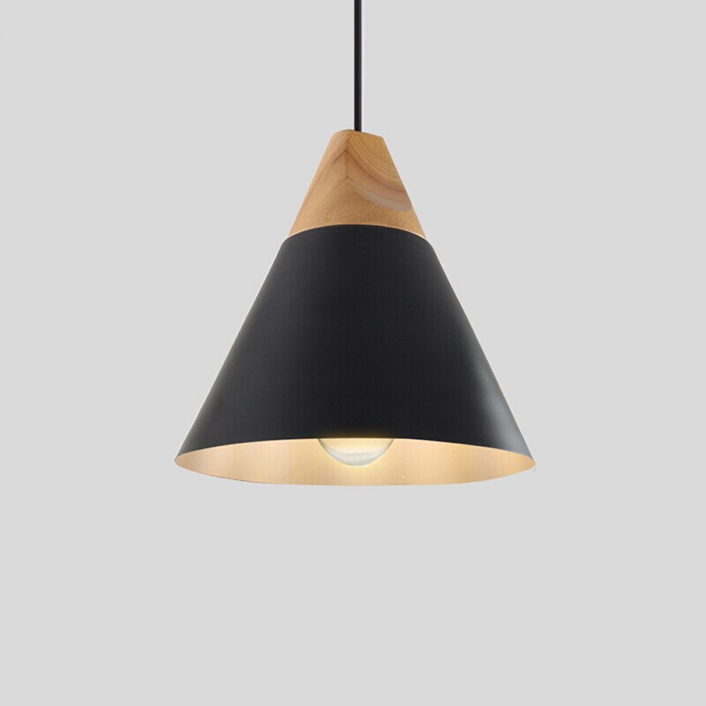 LED Aluminum Chandelier, Postmodern Dining Room Living Room Study Ceiling Light Nordic Wooden Coffee Shop Clothing Store Mini Iron Pendant Lamp, Black, Grey, White, Yellow ( Color : Black )