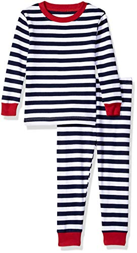 Amazon Essentials Baby 2-Piece Pajama Set, Navy Stripe, 12-18M ()