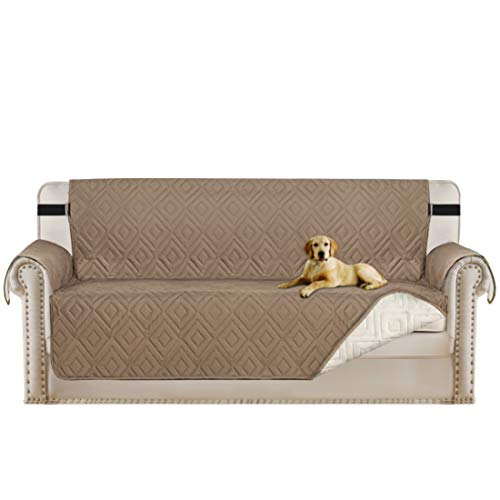 d Plush Sofa Protector Water Repellant Soft Reversible Faux Suede Plush Furniture Cover with Elastic Straps Elastic Straps(Taupe/Beige Sofa 86