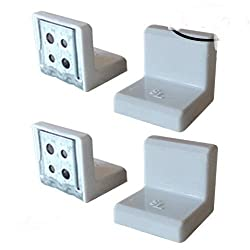"""SL 1""""x1""""x1"""" 90 Degree Metal Right Angle Bracket Shelf Support with Plastic Cover, White, 4PCS"""