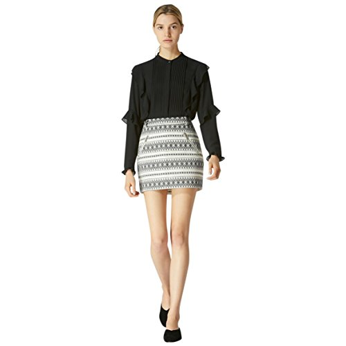 oyce Azria Exposed Zip Mini Skirt (Black/Natural Canvas) Size 6 (Canvas Mini Skirt)