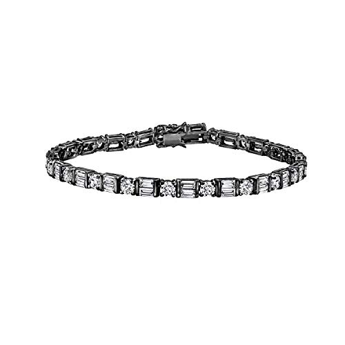 Vintage Bangles Diamond Black (Diamonbliss Sterling Silver or 14K Gold Clad Mixed Cut Tennis Bracelet - Black Rhodium, 8
