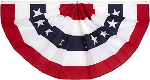 Annin Flagmakers Model 483200 Pleated Fan Bunting Decoration Polyester Cotton Blend, 3 x - Bunting Fan Pleated