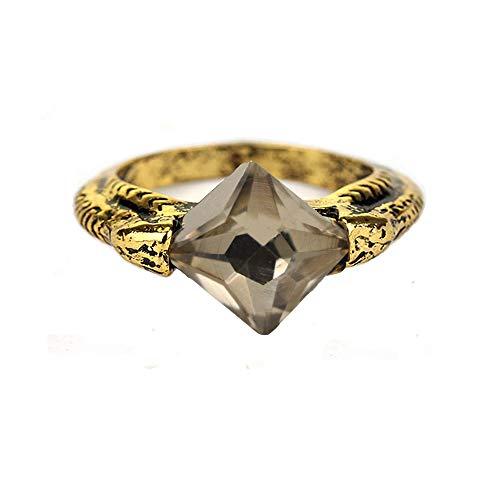 MAIWEIXI Horcrux Sorcerer's Stone Ring Crystal Resurrection Stone Ring Deathly Horcruxes Retro Bronze (Grey)