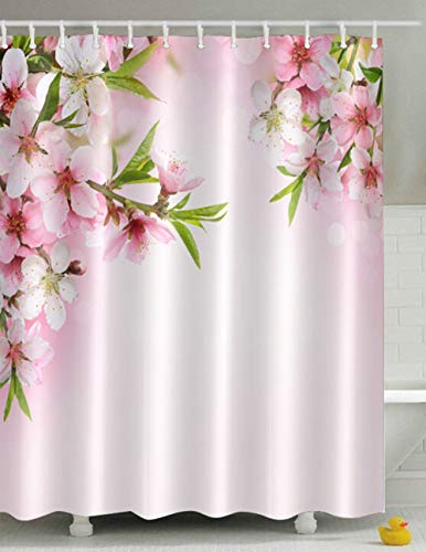 youyoutang Peach Blossom Flowers Shower Curtain Waterproof Fabric 3D High-Definition Printing Does Not Fade 12 Shower Hooks 70.8X70.8 Inch Home Decor Bathroom Accessories