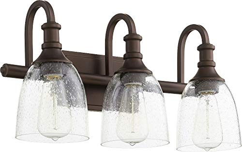 Quorum Vanity Lighting - Quorum 5011-3-186 Richmond Vanity, 3-Light, 300 Total Watts, Oiled Bronze w/Clear Seeded