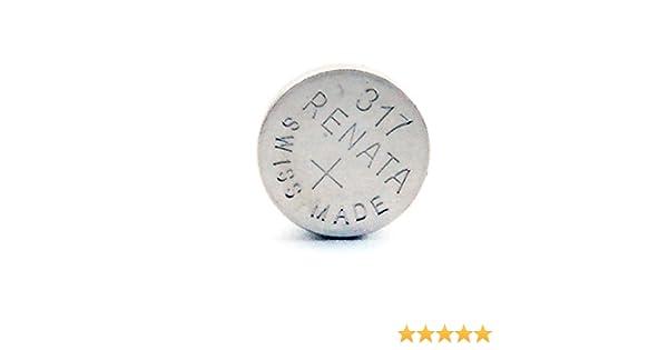 f6c796c57 Renata - Pila botón óxido de plata 317 RENATA 1.55V 10.5mAh: Amazon.es:  Electrónica