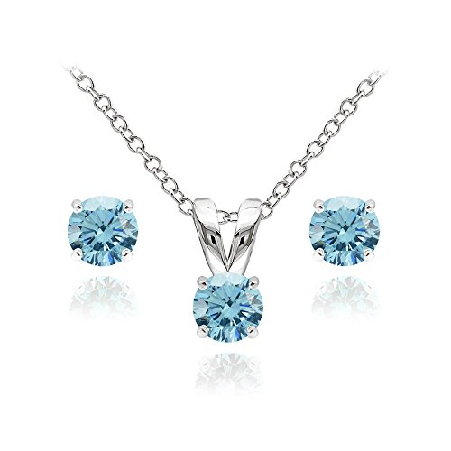 GemStar USA Sterling Silver Solitaire Light Blue Necklace and Stud Earrings Set Created with Swarovski Crystals
