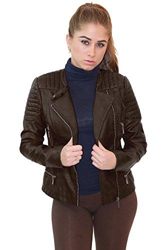 Womens Faux Leather Zip Up Moto Biker Jacket JK5207SX BROWN 2X