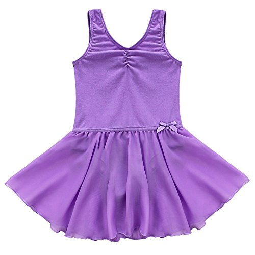 FEESHOW Girls' Gymnastic Leotard Dress Camisole Ballet Dance Ruffle Tutu Skirt Tank Purple - Piece 2 Fairy Ruffle