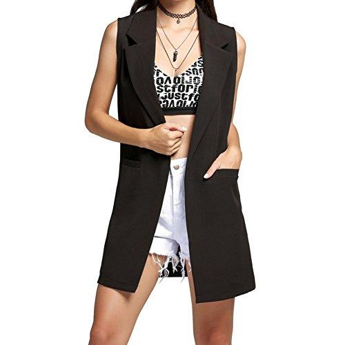 MEIHAOWEI Mujer Sleeveless Lapel Long Waistcoat Suit Vest Cardigan Negro