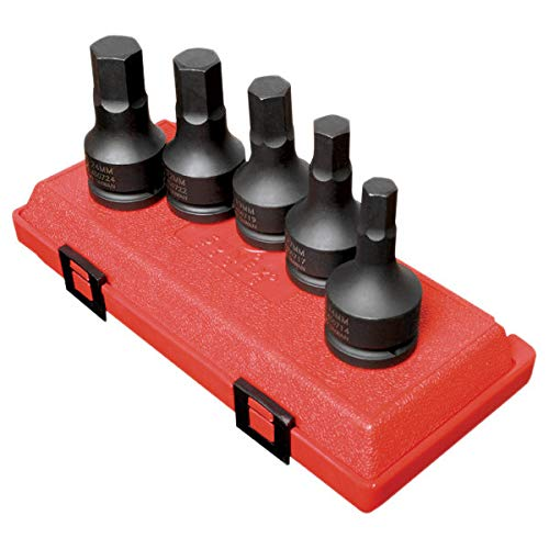 Sunex 4507, 3/4 Inch Drive Impact Hex Driver Set, 5-Piece, Metric, 14mm-24mm, Cr-Mo Steel, Dual Size Markings, Heavy Duty Storage Case - Hex Socket Metric Stubby
