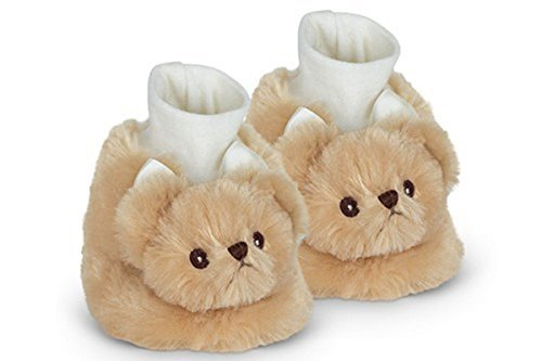 Bearington Baby Lil' Teddy Plush Stuffed Animal Brown Teddy Bear Sock Top Slipper (Slippers Outfit)