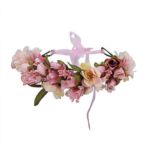 - Boho Bride Flower Crown Wedding Hair Accessories Wreath Girl Floral Headband,Dark Khaki