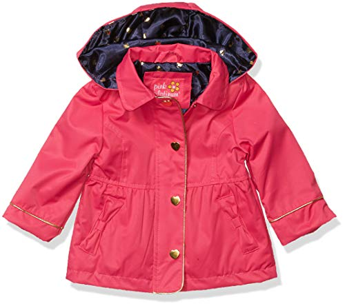 Pink Platinum Baby Girls Hooded Trench Coat, Pink Peacock, 18M