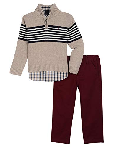 Nautica Boys' Three Piece Sweater Set, Beige Oatmeal Heather, 12M (Piece Boys Toddler Sweater 3)