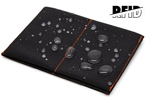 SlimFold Minimalist RFID Wallet - Thin, Durable, and Waterproof Guaranteed - Made in USA - Original Size Black with Orange Stitching
