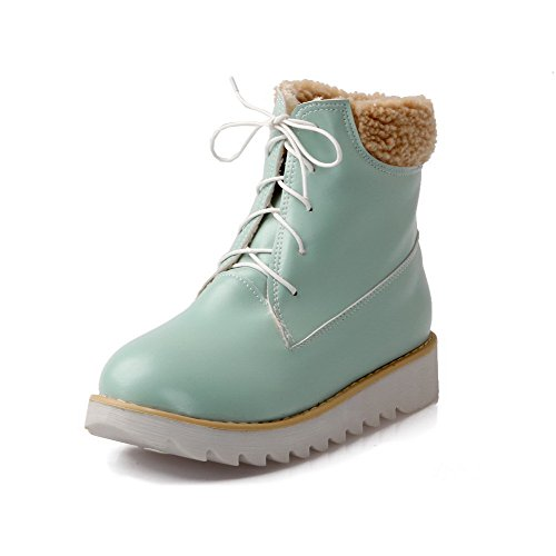AgooLar Women's PU Round Toe Low-Heels Lace-up Solid Boots Blue 5TYkAaqk