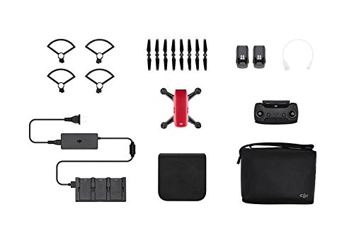 DJI Spark Mini Quadcopter Drone Fly More Combo with Free 16GB Micro SD Card,Lava Red by DJI