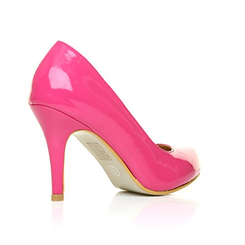 Heel Leather Shoes Patent Fuchsia PEARL Classic Court Stiletto PU High FPvc7xq