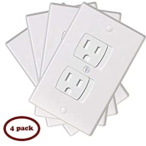 Ziz Home Self-Closing Childproof Outlet Covers | 4 Pack | White | Universal Electric Outlet Cover – Baby Proof Kit…