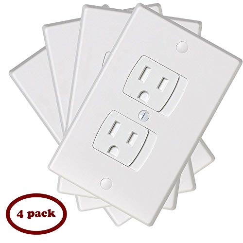 (Ziz Home Self-Closing Outlet Covers | 4 Pack | White | Universal Electric Outlet Cover - Baby Proof Kit - Child Safety Wall Socket Plug - Durable ABS Plastic - Protection | Proofing | Childproof)