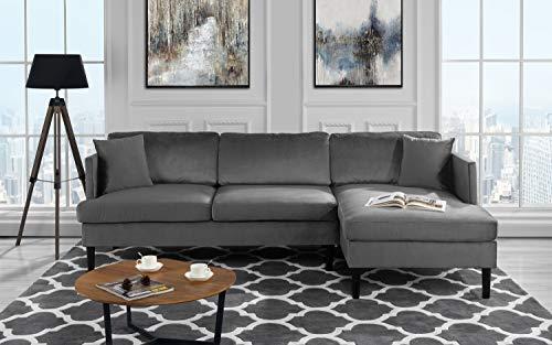 Mid Century Modern Velvet Sectional Sofa, L-Shape Couch ()