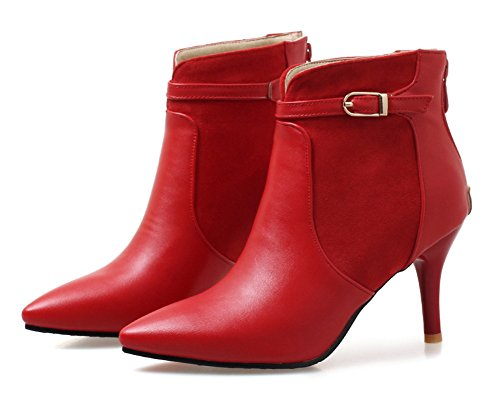 Pointed Aisun Dressy Red Booties Women's Ankle Toe Buckle EB7Hvwqp