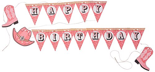 Creative Converting Pink Bandana Cowgirl Happy Birthday Pennant Banner with Twine