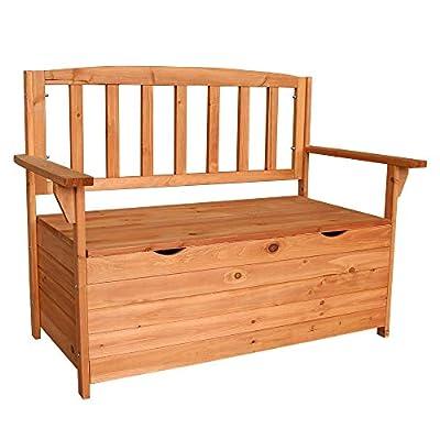 GLOOMALL All Weather Outdoor Patio Storage Garden Wooden Storage Bench Deck Armchair Storage Box