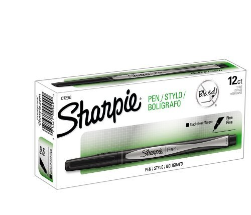 (Sharpie Fine Point Writing Pen Open Stock-Black; 12 Total)