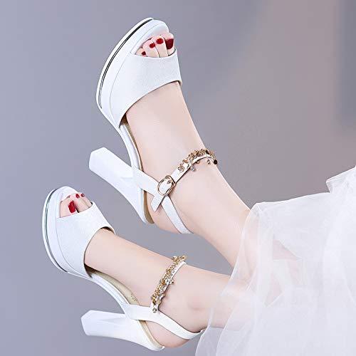 pies de Pescado Tacon Damas los Roma de Beige de Boca Grueso Zapatos Mujer Transpirable Dedos Zapatos Sandalias AJUNR 8wPq4OO