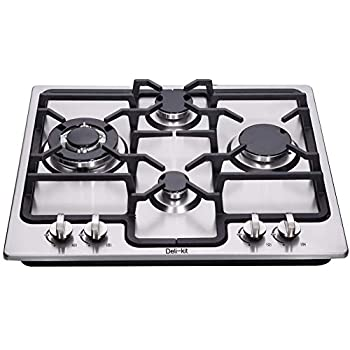 Image of Deli-kit DK245-B04 24 inch gas cooktop gas hob stovetop 4 burners LPG/NG Dual Fuel 4 Sealed Burners brass burner Stainless Steel Built-In gas hob 110V AC pulse ignition gas cooktop gas stove Home Improvements