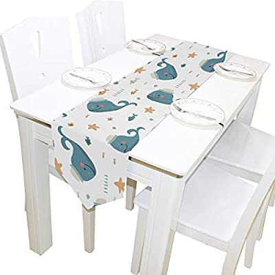 Excellent Amazon Com Moyyo Funny Cartoon Whales Table Runner 13 X 70 Caraccident5 Cool Chair Designs And Ideas Caraccident5Info